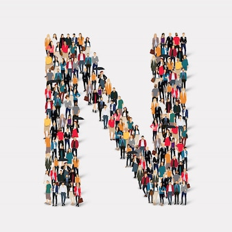 グループの人々の手紙フォームn。所定の形状を形成する群集群。