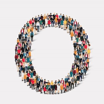 Group people letter form o. crowd point group forming a predetermined shape.