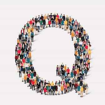 Group people letter form q. crowd point group forming a predetermined shape.