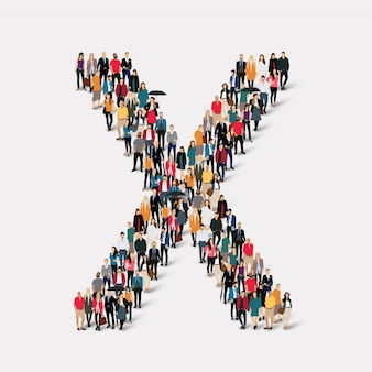 Group people letter form x. crowd point group forming a predetermined shape.