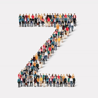 Group people letter form z. crowd point group forming a predetermined shape.
