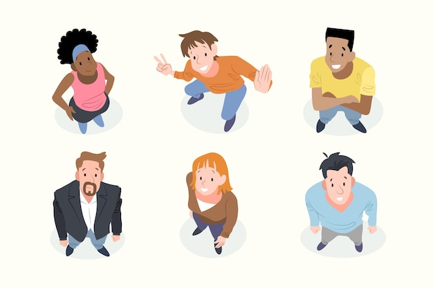 Group of people looking up flat design