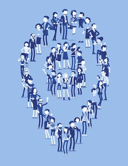 Group of people make map pin shape. members of different nations, sex, age, jobs stand together forming icon to mark travel locations. vector illustration with faceless characters, full length