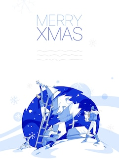 Group of people making christmas tree, merry christmas greeting card