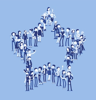 Group of people making star shape