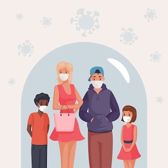 Group of people, man, woman and children in face masks standing under glass dome   cartoon illustration.