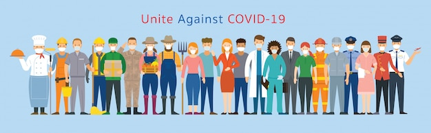 Group of people multinational wearing face mask, united to prevent covid-19, coronavirus disease