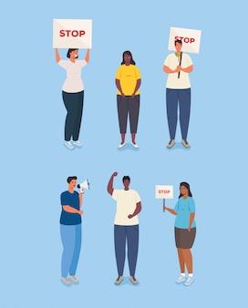 抗議のグループの人々、ストライキの兆候の活動家、人権の概念