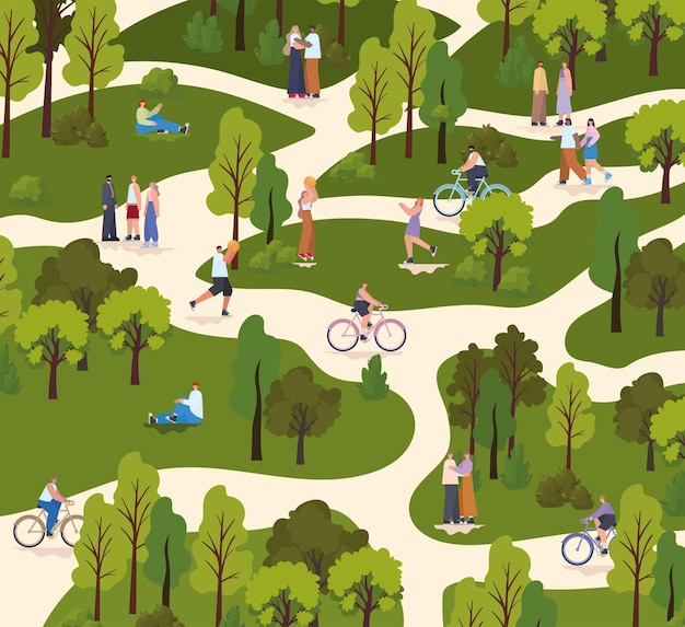 Group of people in a park doing different activities Premium Vector