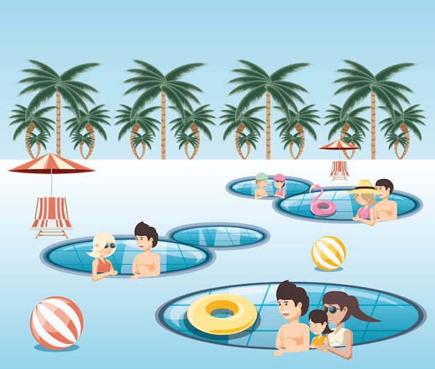 Group of people in the pool icon vectorilustration