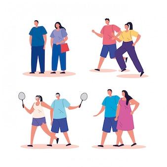 활동 아바타 캐릭터를 연습하는 그룹 사람들
