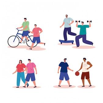 운동 아바타 캐릭터를 연습하는 그룹 사람들