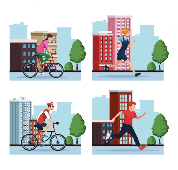 Group of people practicing exercise on the city scenes illustration