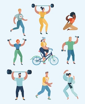 さまざまな種類のスポーツの練習をしているグループの人々。スポーツをしている人間のセット。