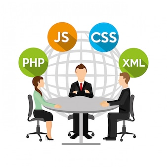 Group of people and programming concept