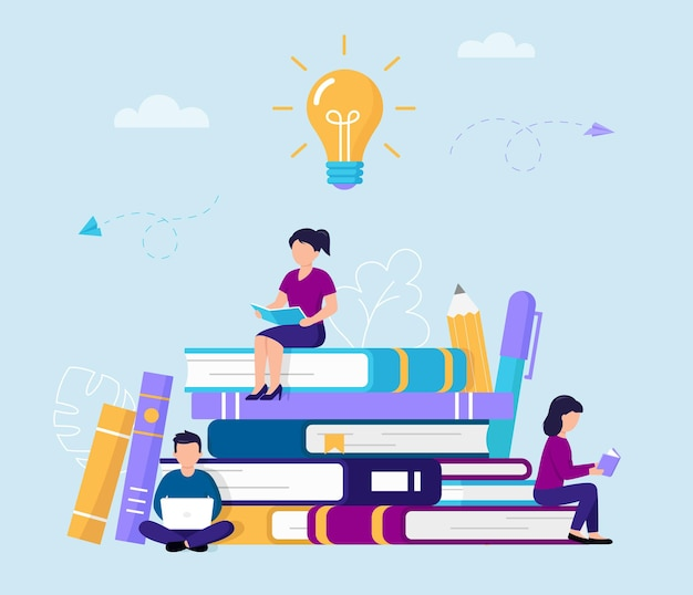 Group of people reading and studying while sitting on big books. flat style characters with books and computer gaining knowledge surrounded with pen, pencil, big lamp.