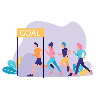 Group of people run to the goal vector