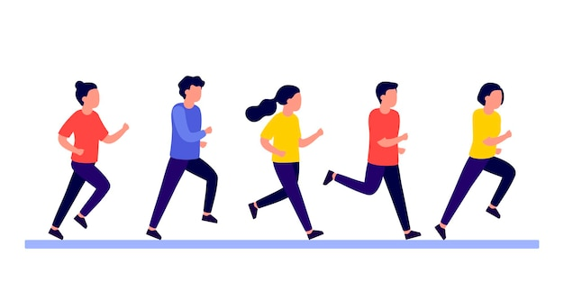 Group people do run sport active