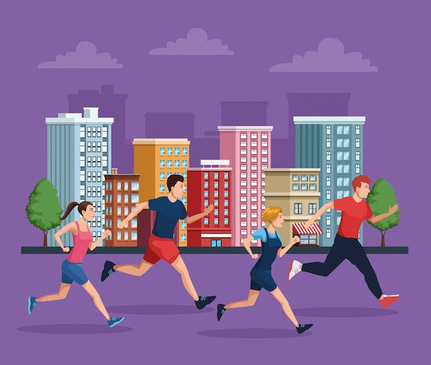 Group of people running on the city illustration