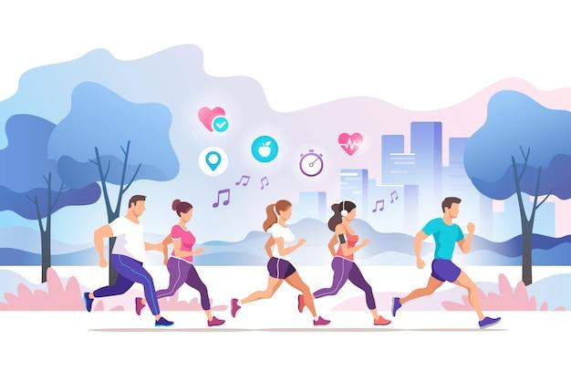 도시 공공 공원에서 실행하는 그룹 사람들. 건강한 생활. 마라톤 훈련, 조깅.