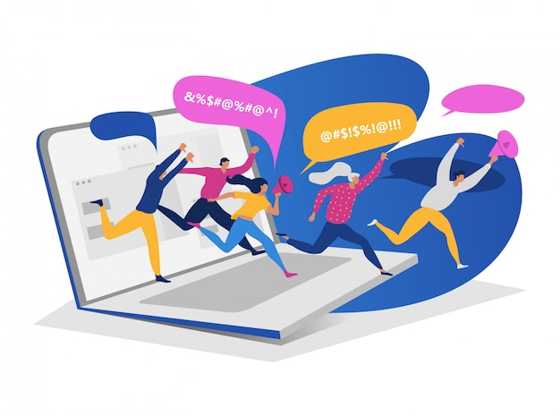 Group people running laptop, male female hold megaphone character online cyberbullying toxic communication  on white,   illustration.