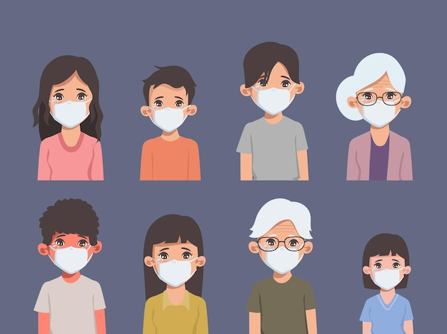 Group of people sadness and crying emotions face tear on the face Premium Vector
