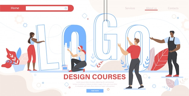 Group of people set up word logo landing page template