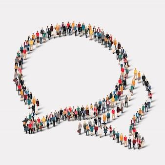Люди группы формируют пузыри беседы. группа точек толпы, образующая заданную форму.