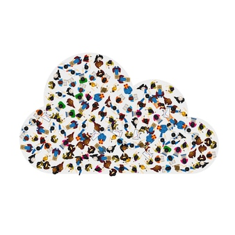 A group of people in a shape of cloud icon, isolated on white background . vector illustration