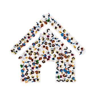 A group of people in a shape of house icon, isolated on white background . vector illustration