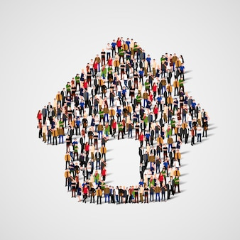 A group of people in a shape of house icon, isolated on white background