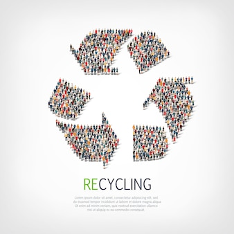 Group  people  shape  recycling