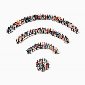 Группа людей формирует wi fi