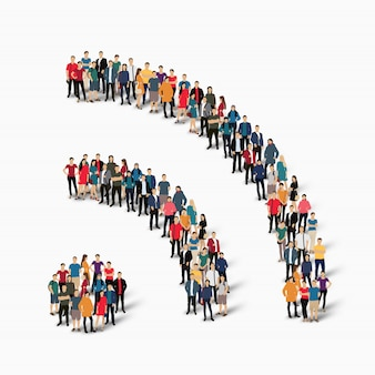 Group  people shape  wi fi