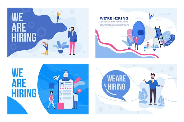 Group of people shouting on megaphone with we are hiring word vector illustration concept,