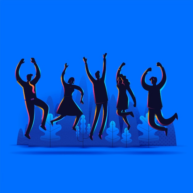 Group people silhouette jumping with raised hands isolated on white background. landing page illustration.