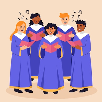 Group of people singing in a gospel choir