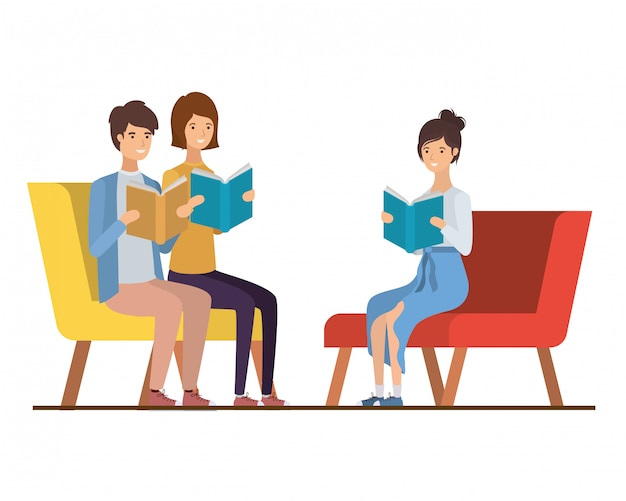 Group of people sitting on chair with book in hands