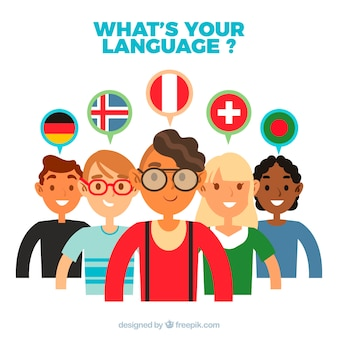 Group of people speaking different languages with flat design