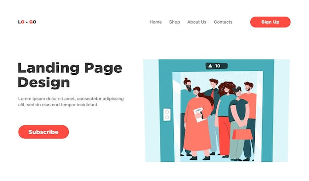 Group of people standing in elevator isolated landing page