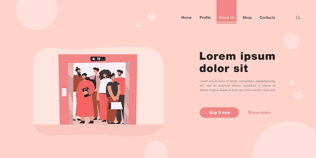 Group of people standing in elevator landing page in flat style