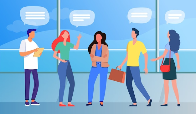 Group of people standing and talking in public place. panoramic window, speech bubbles, airport flat vector illustration. communication, travel