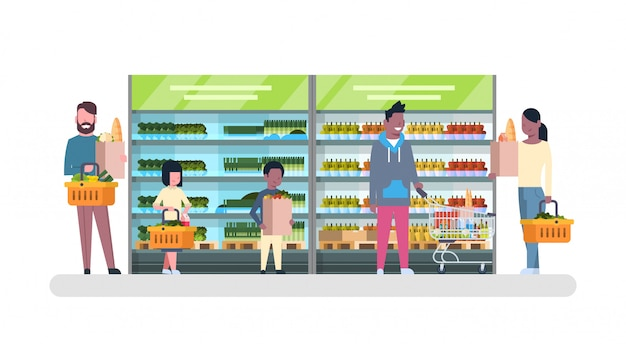 Group of people in supermarket with bags and baskets shopping and buying products, grocery consumerism concept