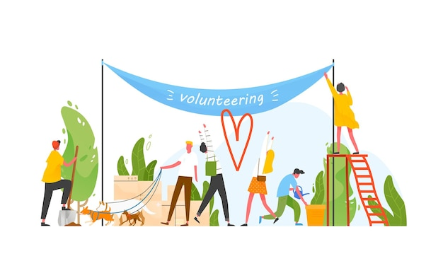 Group of people taking part in volunteer organization or movement, volunteering or performing altruistic activities together