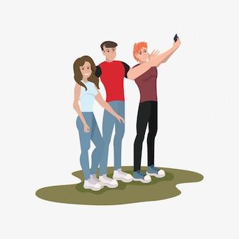 Group people taking selfie