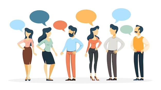 Group of people talk to each other using bubble speech. business discussion and brainstorming.    illustration