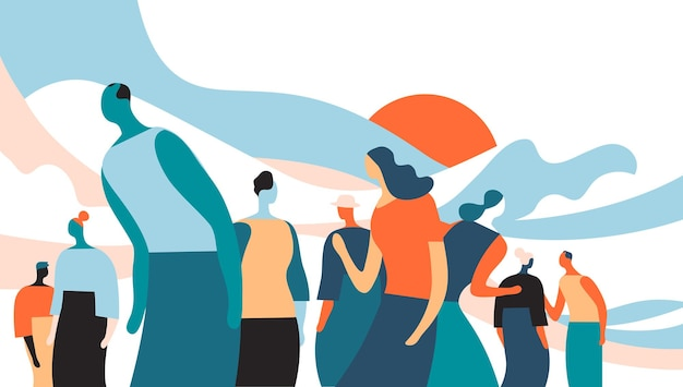 A group of people talking and interacting with each other  vector illustration