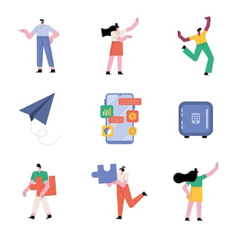 Group of people teamwork six workers characters and set icons  illustration