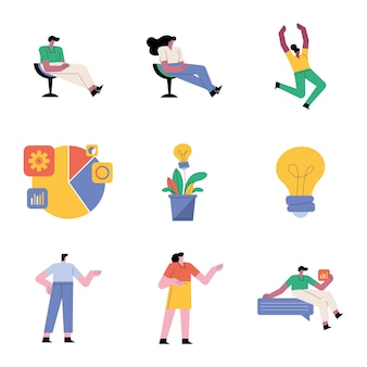 Group of people teamwork six workers and set icons  illustration