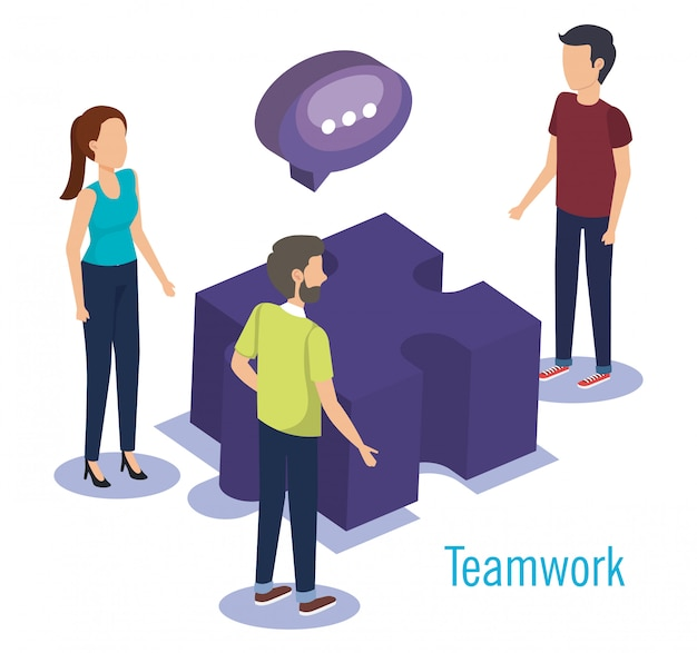 Group of people teamwork with puzzle game